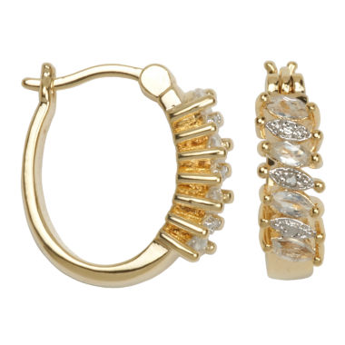 jcpenney.com | Classic Treasures™ White Topaz and Diamond-Accent Hoop Earrings