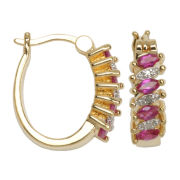 Classic Treasures™ Lab-Created Ruby & Diamond-Accent Hoop Earrings