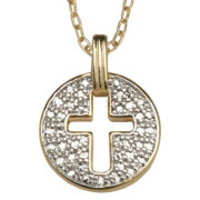 Diamond Accent, Cross Medallion Pendant Necklace