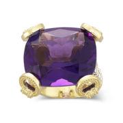 Alexandra Gem 18K Gold-Plated Lab-Created Amethyst & Crystal Ring