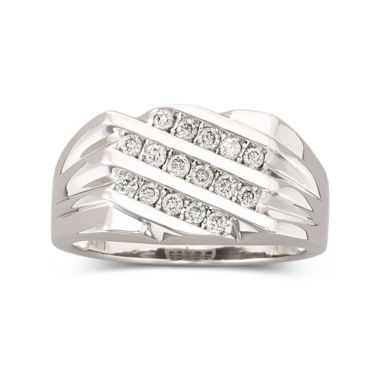 jcpenney.com | Mens 3-Row Diamond Ring 1/2 CT. T.W. 10K White Gold