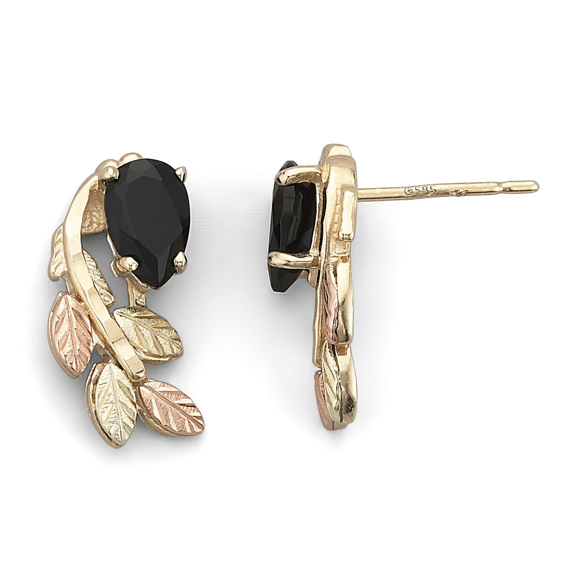 Black Hills Gold Jewelry by Coleman Onyx Swirl Earrings