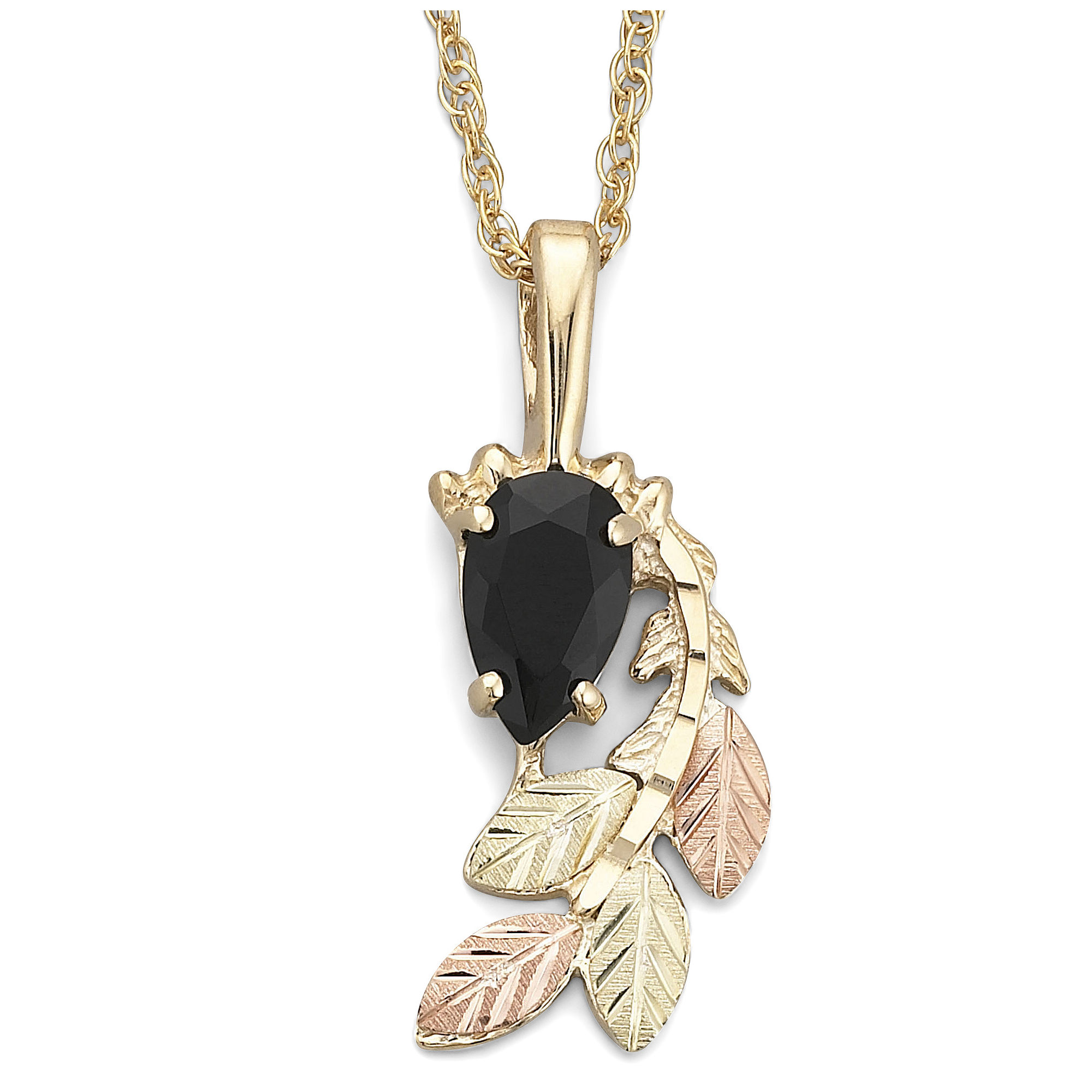 Black Hills Gold Jewelry by Coleman Onyx Swirl Pendant Necklace