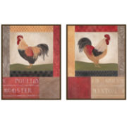 Set of 2 Rooster Posture Wall Plaques