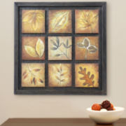 9-Panel Leaf Metal Wall Decor