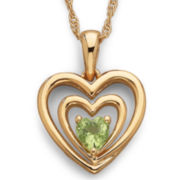 Birthstone Genuine Peridot Heart Pendant