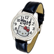 Hello Kitty® Black Leather Strap Crystal Bezel Watch