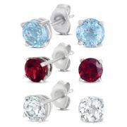 3-pr. Gemstone Stud Earring Set