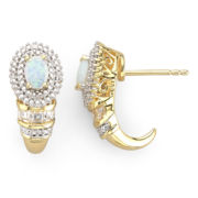 14K Gold-Plated Sterling Silver Lab-Created Opal Earrings