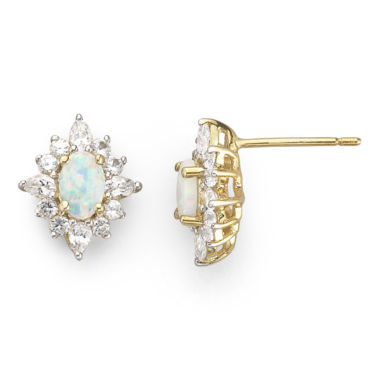 jcpenney.com | 14K Gold-Plated Sterling Silver Lab-Created Opal & White Sapphire Earrings