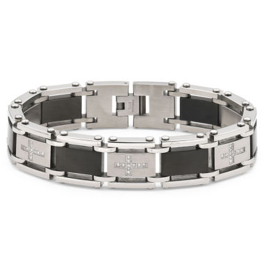 jcpenney.com | Men's Diamond Cross Bracelet Stainless Steel