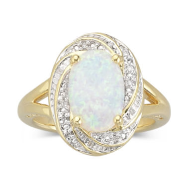 jcpenney.com | Lab-Created Opal Ring with Diamond Accents