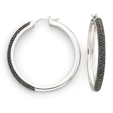 jcpenney.com | 1/2 CT. T.W. Color-Enhanced Black Diamond Hoop Earrings