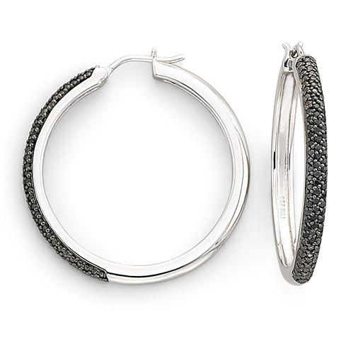1/2 CT. T.W. Color-Enhanced Black Diamond Hoop Earrings
