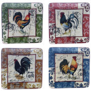 Certified International Lille Rooster Set of 4 Salad Plates
