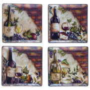 Wine Cellar Set of 4 Dinner Plates
