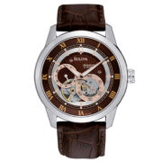 Bulova® Mens Brown Leather Strap Watch