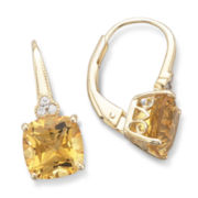 14K Gold-Plated Sterling Silver Genuine Citrine Earrings