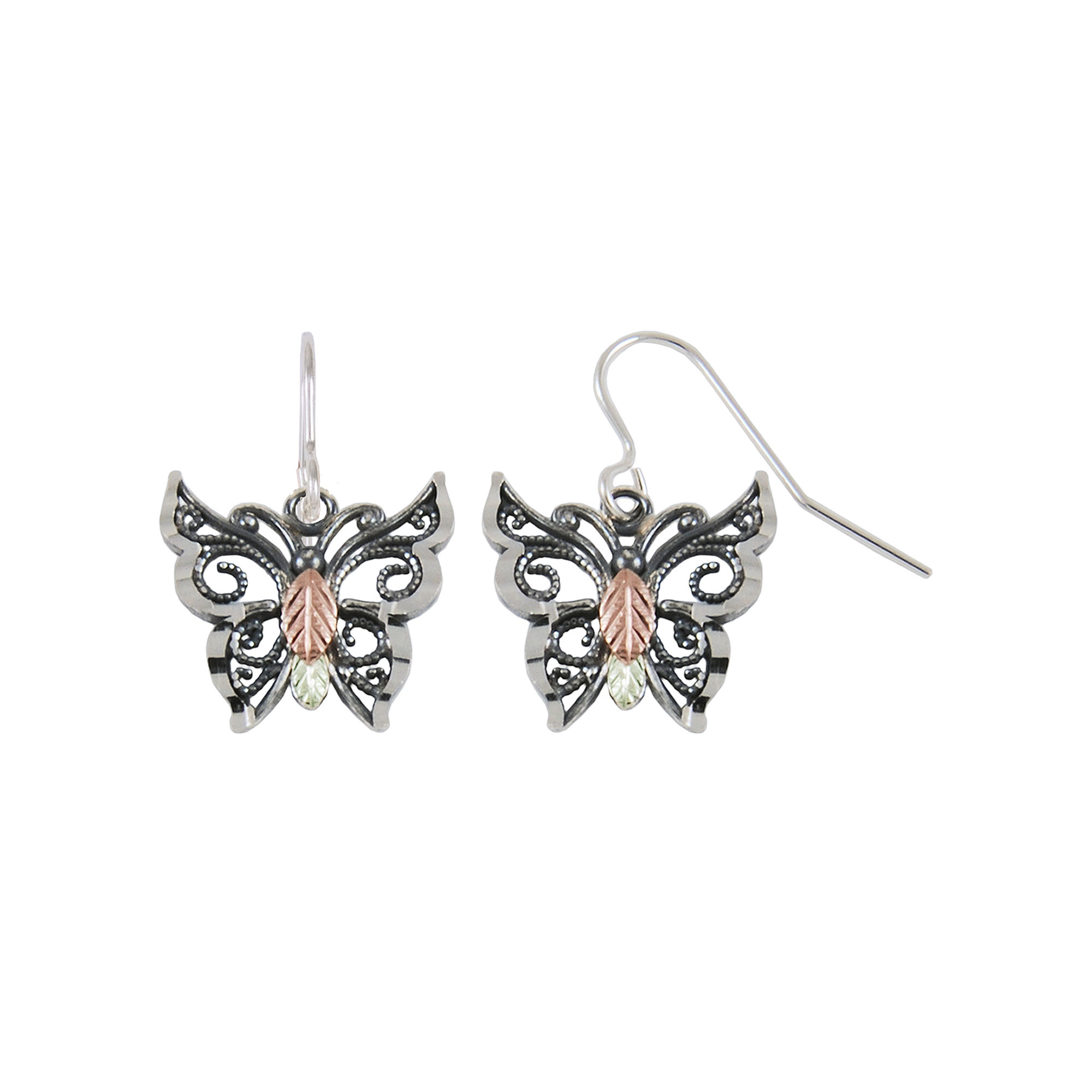 Black Hills Gold Jewelry by Coleman Butterfly Earrings Sterling Silver