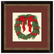 Red Bow on Wreath Framed Print