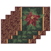 Table Linens, Winter Poinsettia