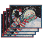 Snowman Bundle Up Holiday Set of 4 Placemats