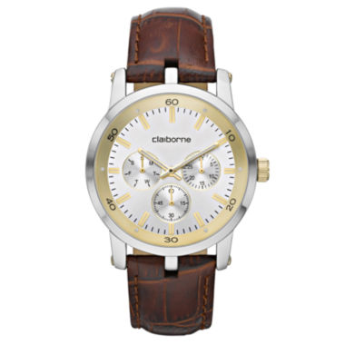jcpenney.com | Claiborne Mens Multifunction Brown Leather Watch