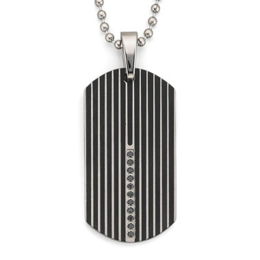 jcpenney.com | Dog Tag Necklace, .15 ct. t.w. Diamond Steel