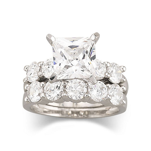 diamonart cubic zirconia engagement ring set - Jcpenney Wedding Ring Sets