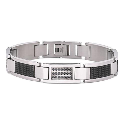 Mens Bracelet, 1/3 CT. T.W. Black Diamond Steel