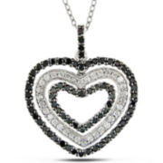 Heart Pendant, Black & White Diamonds 1 CT. T.W.