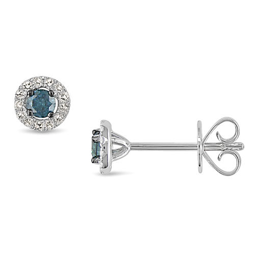 1/3 CT. T.W. White and Color-Enhanced Blue Diamond Stud Earrings