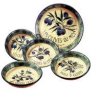 Pasta Bowl Set, 5-Piece Garden of Olives
