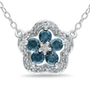 1/2 CT. T.W. Blue Diamond Flower Necklace