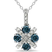 Blue Diamonds, Pendant 3/4 CT. T.W. Silver