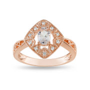 Genuine Morganite & Diamond-Accent Vintage Ring