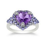 Genuine Amethyst, Tanzanite & Diamond-Accent Heart Ring