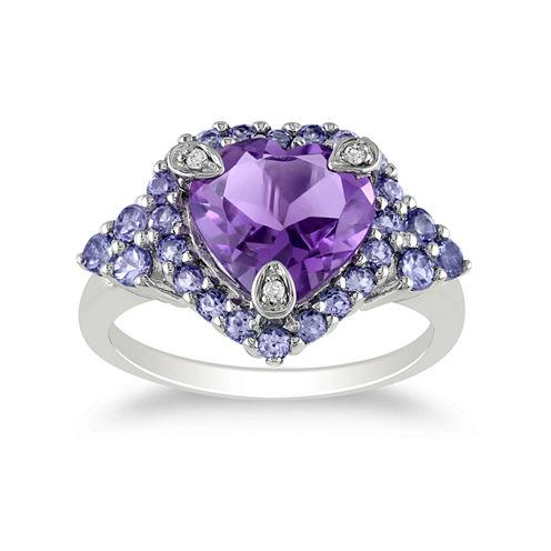 Genuine Amethyst, Tanzanite & Diamond-Accent Heart Ring