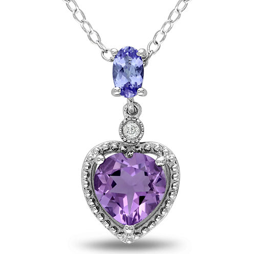 Amethyst, Tanzanite & Diamond-Accent Heart Pendant Necklace