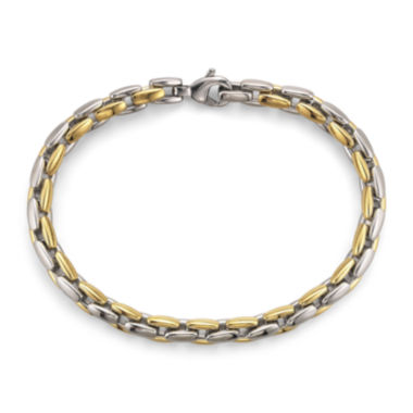 jcpenney.com | Men's Square Link Bracelet in Two-Tone Steel