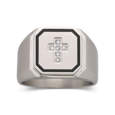 jcpenney.com | Mens Diamond Accent Stainless Steel Cross Ring