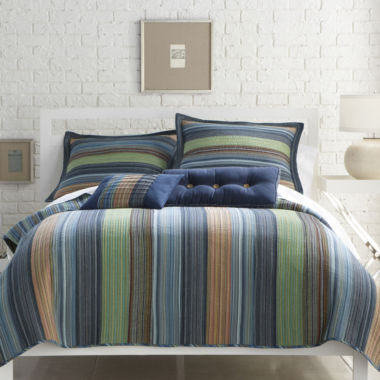 jcpenney.com | Blue Retro Chic Cotton Striped Quilt & Accessories