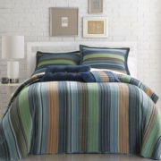 Blue Retro Chic Striped Bedspread