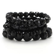 Jet 5 Row Stretch Bracelet