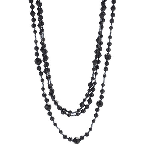 Triple-Strand Jet Black Bead Necklace