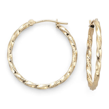 jcpenney.com | 14K Gold Twisted Hoop Earrings