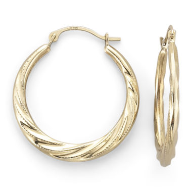 jcpenney.com | 14K Yellow Gold Patterned Hoop Earrings