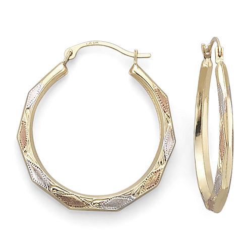 14K Gold Tri-Tone Aztec Hoop Earrings