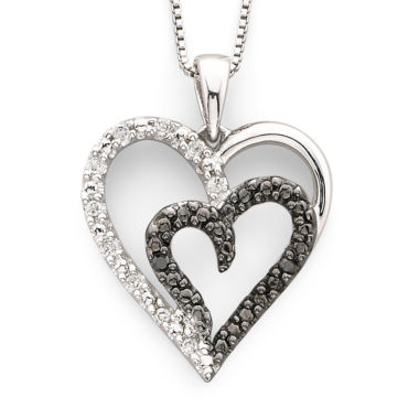 jcpenney.com | 1/10 CT. T.W. White & Color-Enhanced Black Diamond Heart Pendant Necklace Sterling Silver