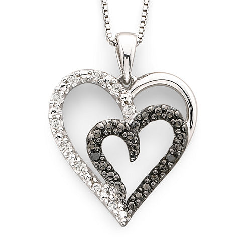 1/10 CT. T.W. White & Color-Enhanced Black Diamond Heart Pendant Necklace Sterling Silver
